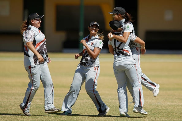 Northern Territory women's cricket players during the National Indigenous Cricket Championships in February, 2016