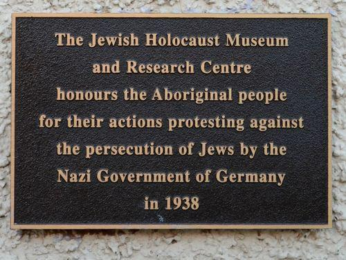 A plaque at the Melbourne Holocaust Museum commemorates an Aboriginal delegation attempting to present to the German consul general in 1938.