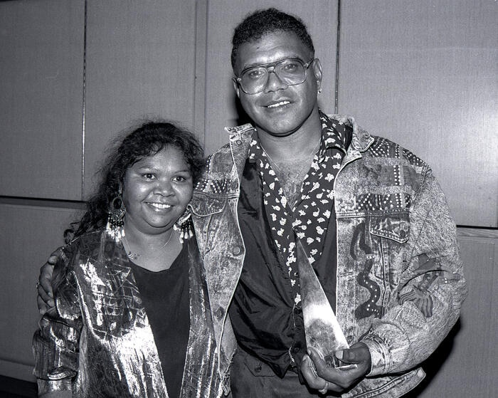 Archie Roach and his late wife Aunty Ruby Hunter athe 1991 ARIA Awards