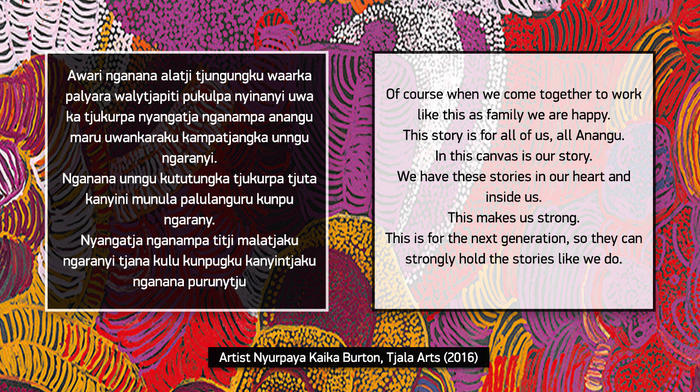 Artist Nyurpaya Kaika Burton, from Tjala Arts speaks about the significance of the women's collaborative canvas painted in Kaltjiti in 2016.