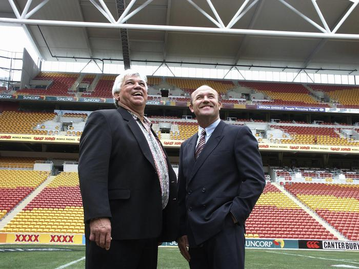 Rugby league legends Arthur Beetson (l) and Wally Lewis at the official opening of Suncorp Stadium today. Beetson was named as a Queensland Ambassador. (AAP Image/Gillian Ballard) NO ARCHIVING