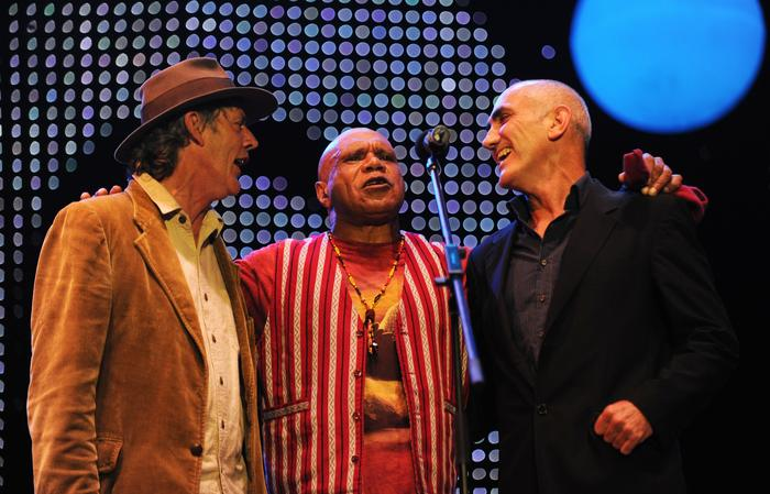 Australian musicians Shane Howard, Archie Roach (centre) and Paul Kelly (right) perform at The Domain for the Nukkan Ya Ruby (See Ya Later Ruby) tribute concert during the Sydney Festival First Night in Sydney on Saturday, Jan. 8, 2011.