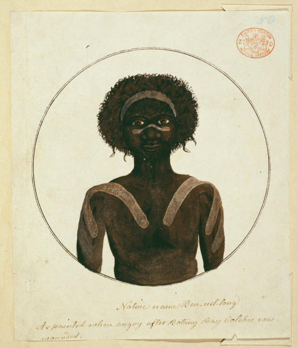 Drawing 41 from the Watling Collection titled 'Native name Ben-nel-long, as painted when angry after Botany Bay Colebee was wounded', by Port Jackson Painter.