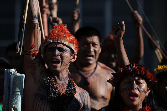 File image of a Sawre Muybu Munduruku tribe protest (2016) to demand their land demarcation and cancel a hydroelectric plant construction on the Tapajos River.