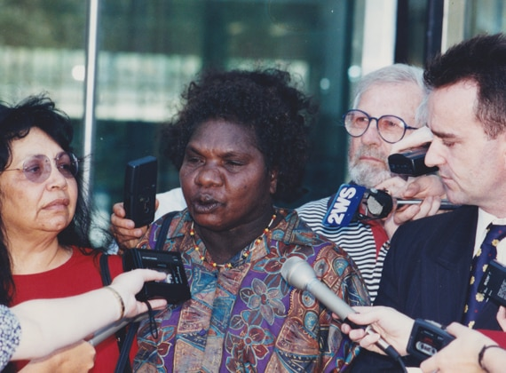 Wik claimant Gladys Tybingooompa speaks to media after the High Court decision in 1996