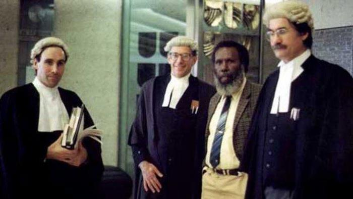 Eddie Mabo and legal counsel at the High Court of Australia