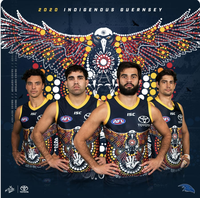 The 2020 Adelaide Crows Indigenous round guernsey.
