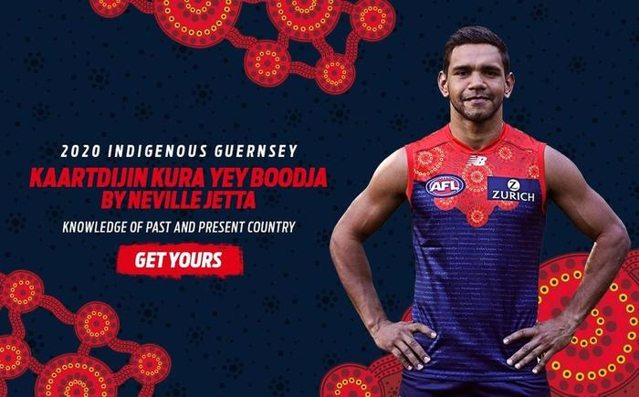 The 2020 Melbourne Demon's Indigenous round guernsey.