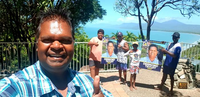 North QLD First candidate for Cook, Desmond Tayley (left) on the campaign trail in Port Douglas with nephews George, Elijah, Gregory Jnr and Kelvin.