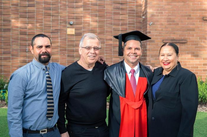 Dr Christopher Lawrence PhD graduation 2014 with brother Brenton and friends Michael and Phyllis