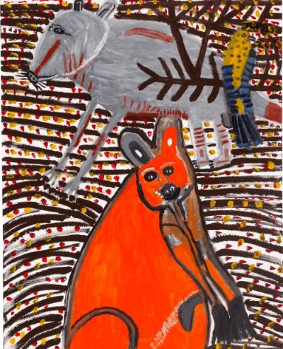 A supplied image made available Thursday, Feb. 19, 2009, of 'Dreamtime kangaroo and bird' by Trevor 'Turbo' Brown.