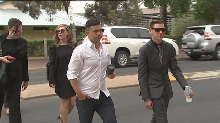 Dylan Voller and Joe Williams arriving at Alice Springs