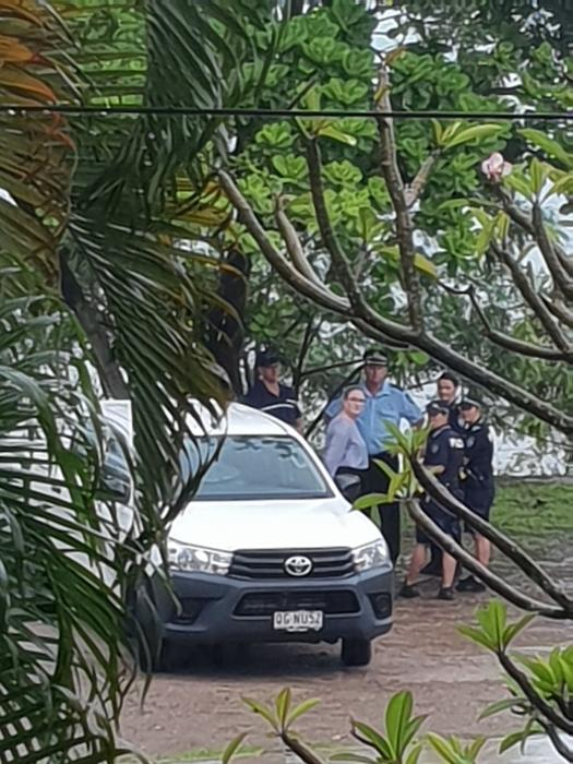 Some of the police officers who evicted Ms O'Connor, gather before entering her property, 12 February 2020.