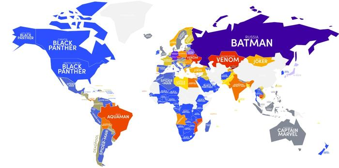 Favourite superhero movies of the world, according to search data.