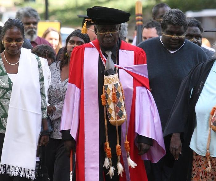 Gumbula with his family receiving his honorary Doctor of Music degree