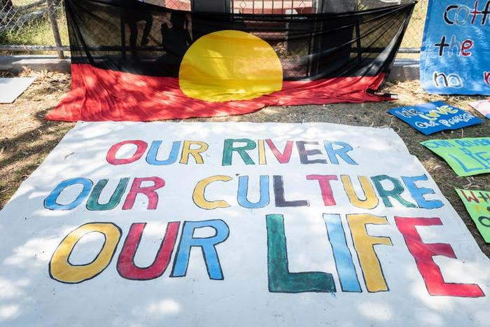 Banners from the day's protest march at Wilcannia. John Janson-Moore