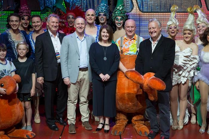 Priscilla's opening night with lead producer Garry McQuinn (left), New Zealand Prime Minister John Key and wife Bronagh, Ray Meagher and James Cundall (right) of