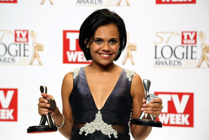 Miranda Tapsell with her Logies.