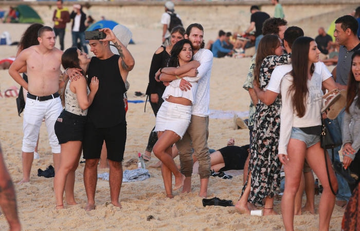 Groups of people gather on Sydney's Bondi Beach on New Years Day - or - Australia's anniversary of Federation