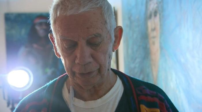Gordon Syron at his exhibition Mum Shirl: The Black Saint of Redfern at Coo-ee Gallery in Paddington. Source: NITV News.