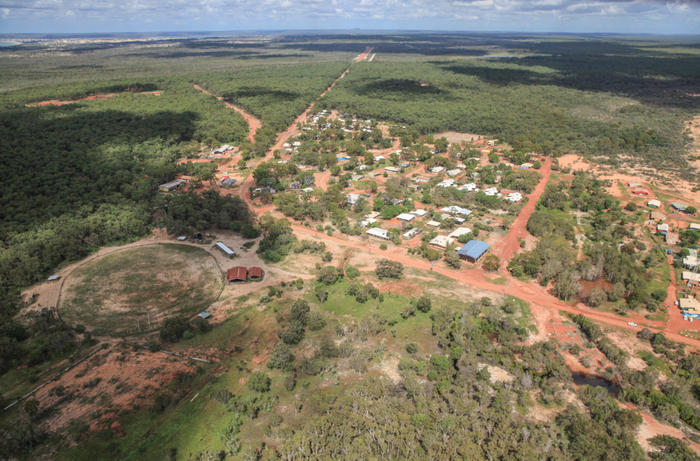 An aerial view over an Indigenous township on Groote Eylandt.