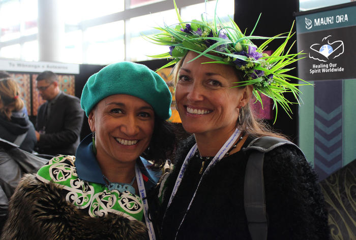 Oriwa Morgan-Ward and Yvonne Kainuku-Walsh in the arts and display area at Healing Our Spirit Worldwide - The Seventh Gathering