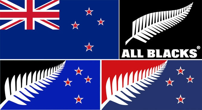 Top left: New Zealand's current flag. Top right: Logo of the All Blacks. Bottom left: The winning flag design by Kyle Lockwood. Bottom right: Second place design by Kyle Lockwood.