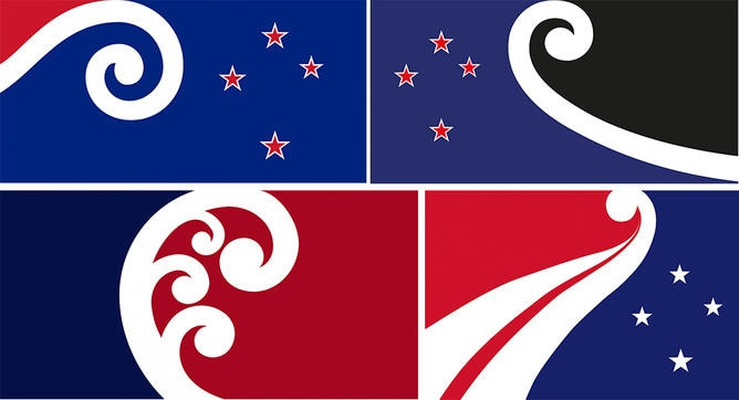 Flags from the long list of 40 New Zealand flag designs. Top left: Koru and Stars by Alan Tran. Top right: Finding Unity in Community by Dave Sauvage. Bottom left: Unity Koru by Paul Densem. Bottom right: Embrace by Denise Fung