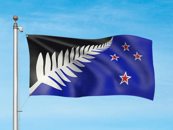 Silver Fern by Kyle Lockwood, one of the final four alternative flag designs for a new New Zealand flag. Flag Consideration Panel unveiled the flag designs New Zealanders will get to rank in a referendum later this year.
