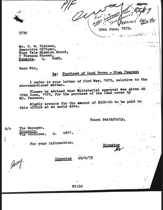 Glen Pearson Letter from Aboriginal Protection Office