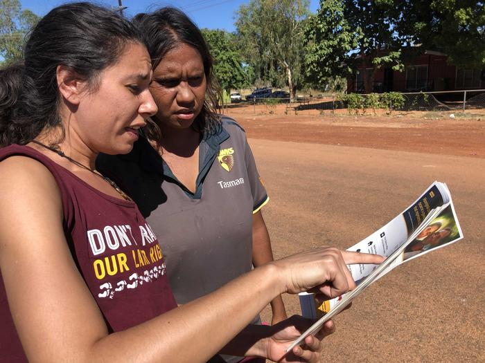 GetUp volunteer Maria Clague talks to a voter in remote NT