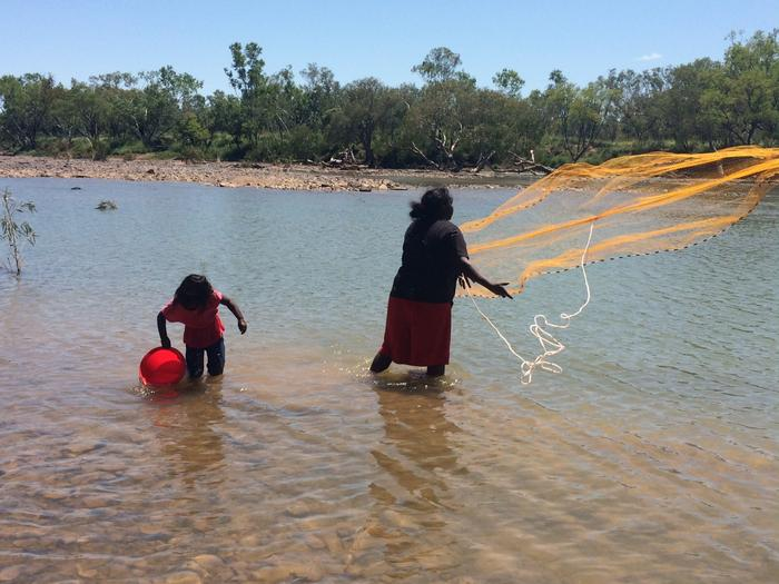 Mowanjum locals fish for Barramundi at May River, near Derby. Vinka spent much of her childhood splashing in the water at May River.
