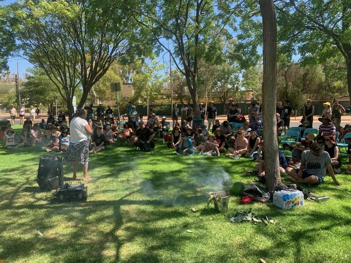 Ryan Liddle reports that the Invasion Day event on Mparntwe Country is now underway.