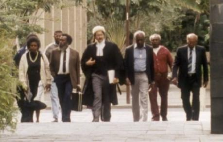 Eddie Mabo walking with his team of lawyers in his case, which saw the High Court overturn the legal doctrine of terra nullius