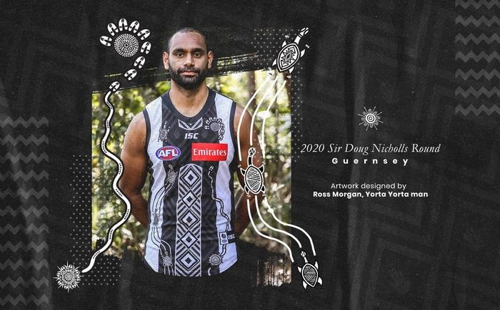 The 2020 Collingwood Magpie's Indigenous round guernsey.