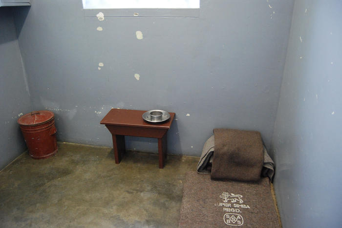 Nelson Mandela's prison cell at Robben Island, South Africa. Photo:  Paul Mannix
