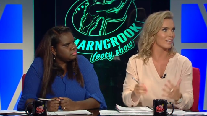 Marngrook co-host Leila Gurruwiwi with guest panelist AFLW player, Abby Holmes