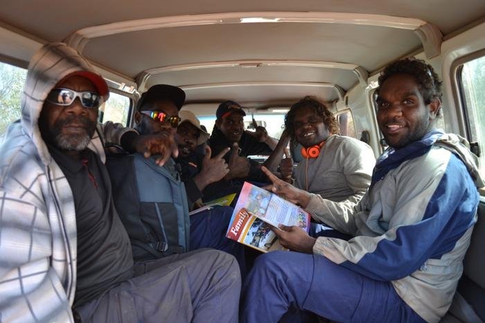 Men's Tjilirra Movement participants enjoying the road trip in the back of the 4x4.