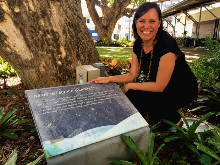 NITV News presenter Natalie Ahmat with the Raintree planted by her grandfather around 1957.
