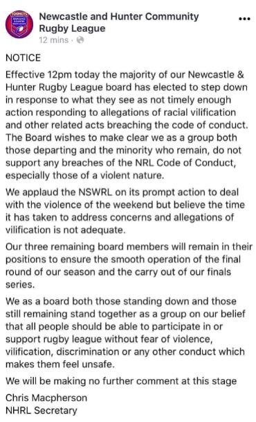 Newcastle Hunter Rugby League post