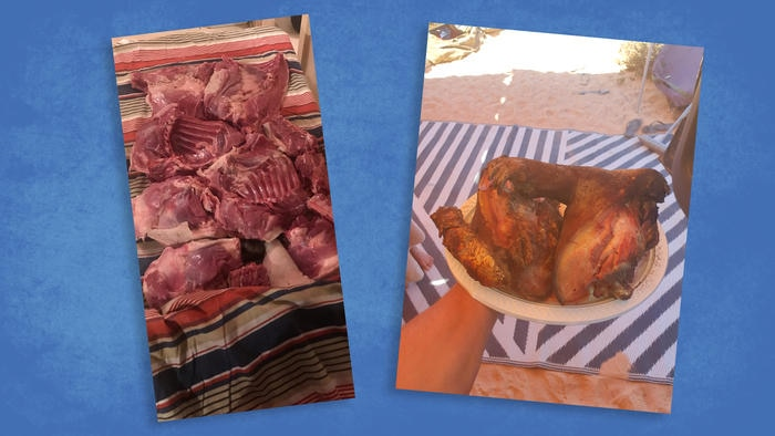 Pictures of the same wombat, cut up and cooked after the hunt.