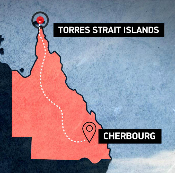 Torres Strait Islands to Cherbourg map