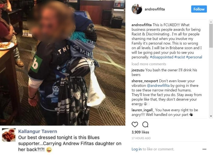 Andrew Fifita's Instagram post in response to the picture.
