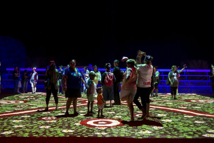 Visitors at the light display at Desert Park, Alice Springs.
