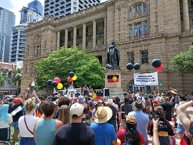 Brisbane, Meanjin INvasion Day rally in Queens Park
