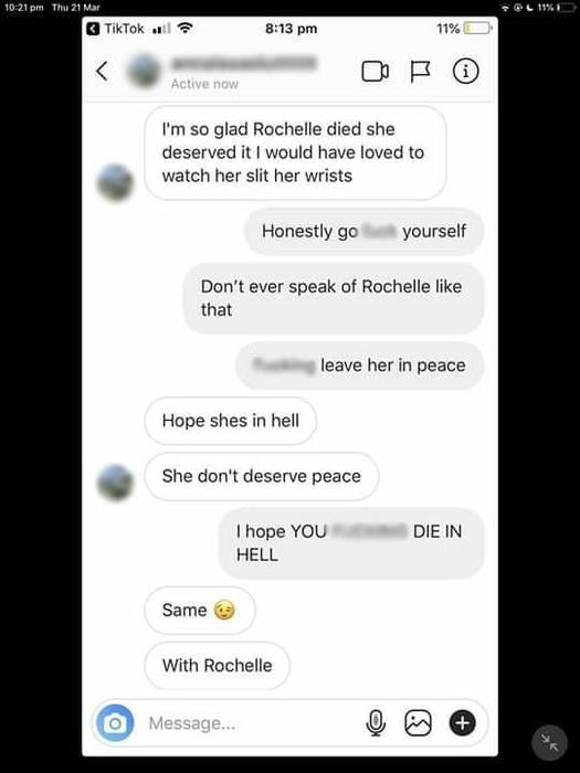 Phone message exchange between one of Rochelle's bullies and her sister Kyanne after Rochelle's death