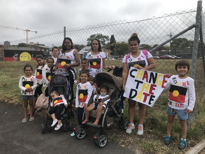 Jamie, Corina, Keryann and family at the Block ahead of an Invasion Day rally.