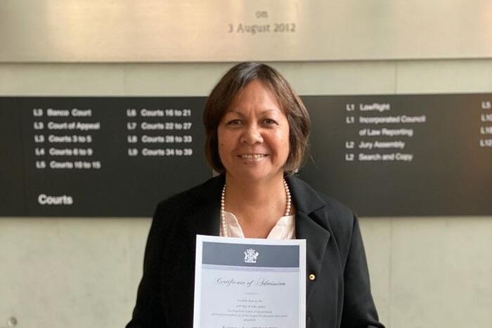 Waanyi and Kalkadoon woman, Sandra Creamer at her admission to the Queensland Supreme Court.