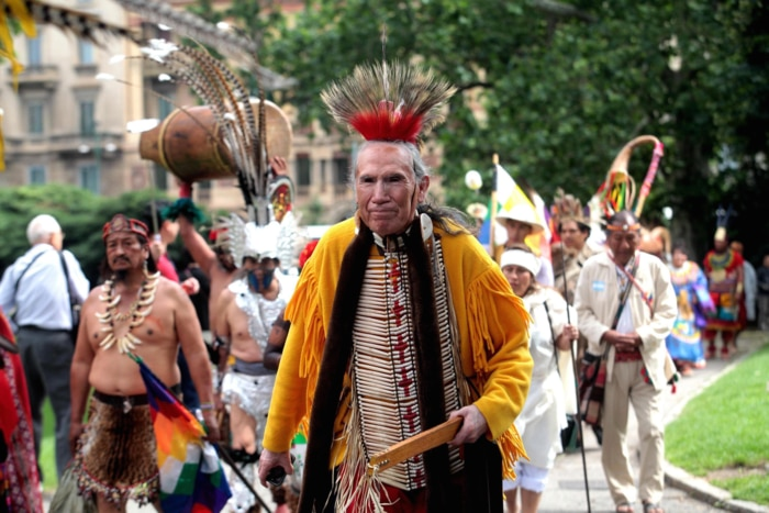 Indigenous flash mob in Italy.