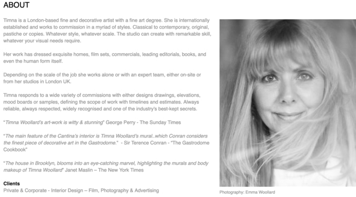 Timna Woollard biography screen shot from her webpage